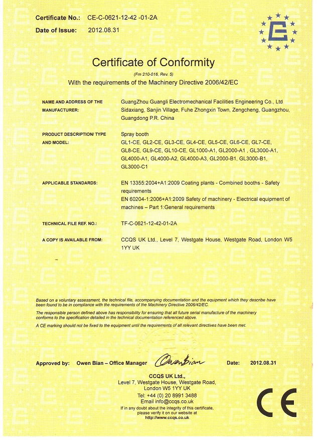 Spray Booth CE certificate