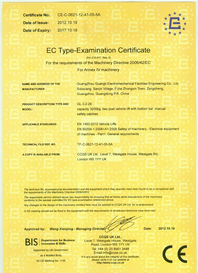 Two Post Car Lfit CE certificate